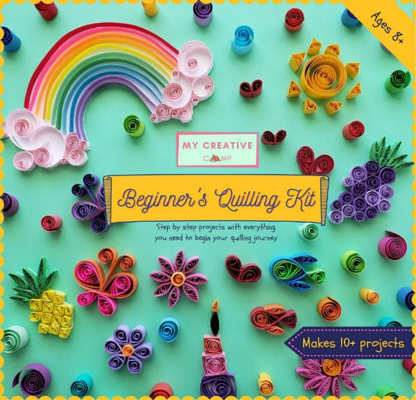 colorful cover of beginner's quilling kit with sample projects like a rainbow, heart, and flowers