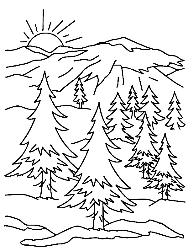 mountains are of many types like some are very high and some are of medium range but children mostly like those things in which very big things are shown - Mountain Coloring Pages Printable