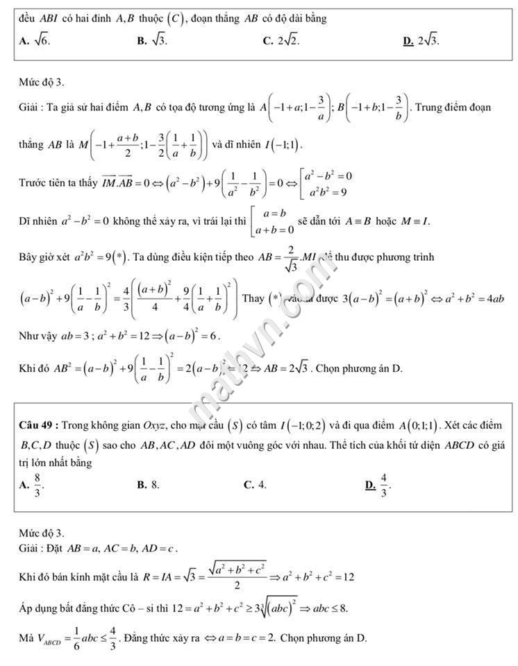 Đề thi chính thức môn toán 2018 có đáp án chi tiết
