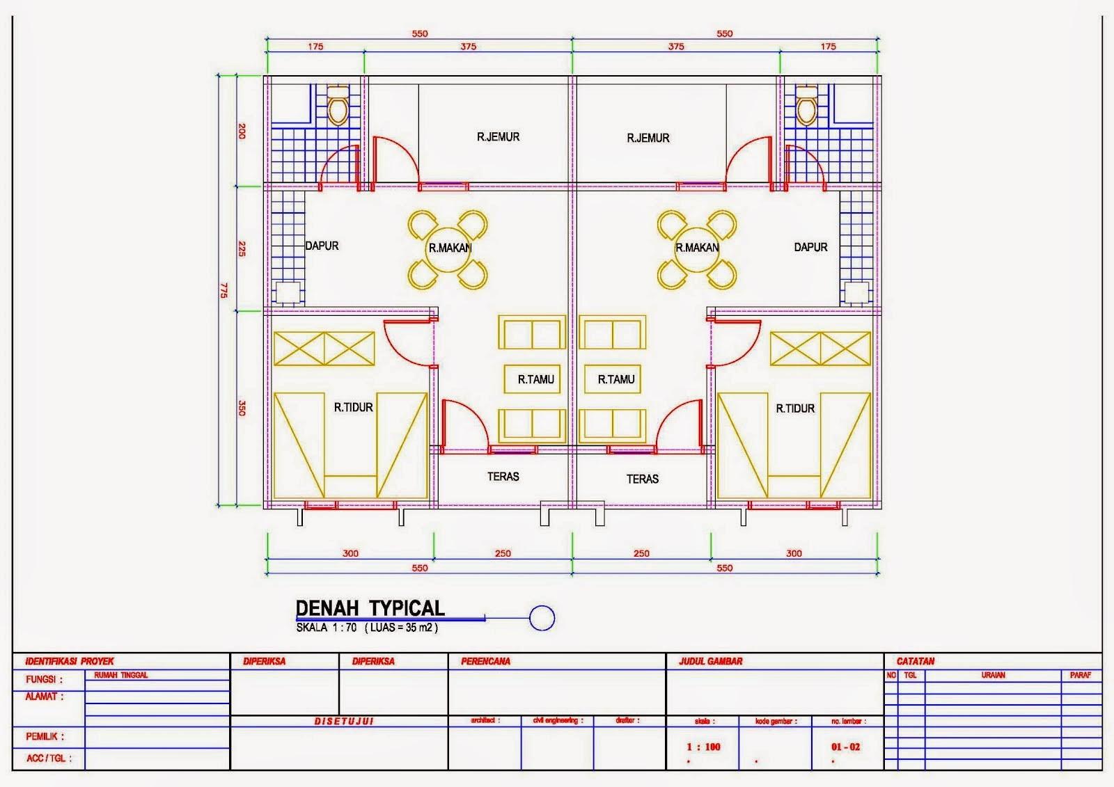 gambar denah rumah petak 4