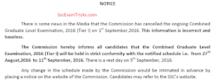 ssc cgl tier 1 exam date notice
