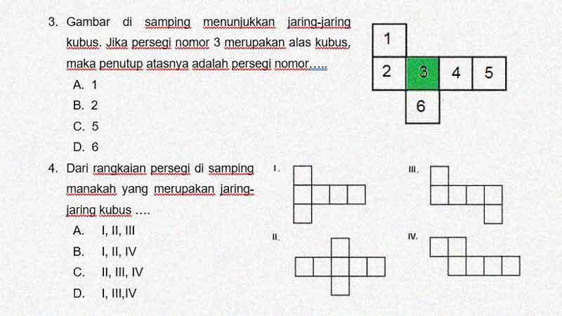 Soal Penilaian Harian Matematika Kelas 5 KD 3.6 Jaring-Jaring Kubus dan Balok
