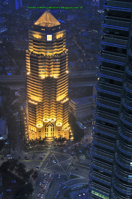 Iluminated Public Bank, Cityscape Panorama, as viewed from Nobu restaurant, KL, Malaysia
