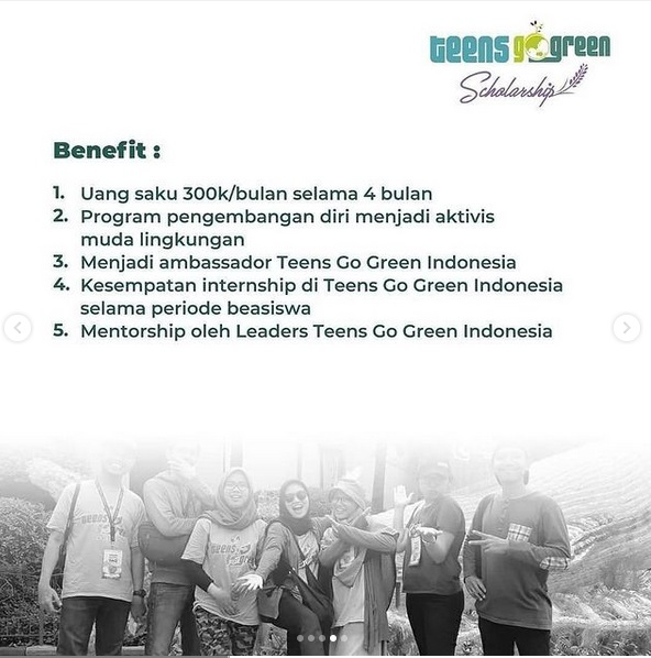 Dibuka Pendaftaran Beasiswa Teens Go Green Indonesia 2021! Deadline 21 Agustus 2021