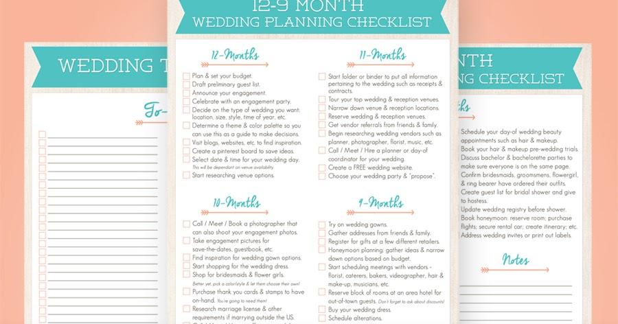 Wayfaring Wanderer: 12-Month Wedding Planning Checklist ...