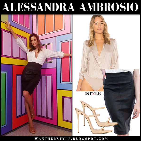 Alessandra Ambrosio in plunging top and black pencil skirt lamarque model style march 27