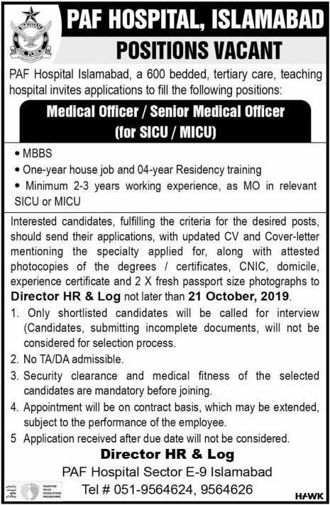 Paf Hospital Jobs 2019