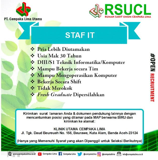 Lowongan Kerja Sebagai Staf IT RSU Cempaka Lima Aceh Tahun 2020