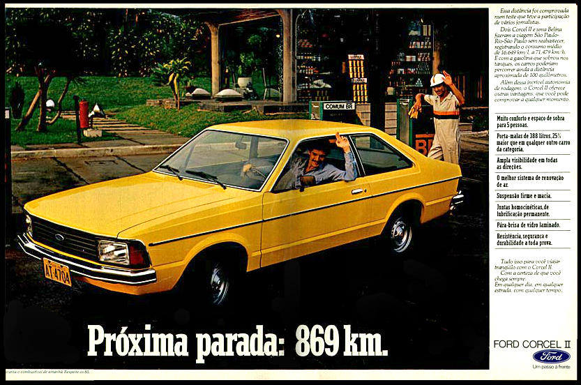 Anúncio antigo da Ford promovendo o Corcel II em 1978