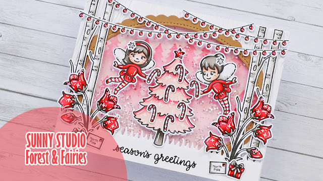 Sunny Studio Stamps: Forest Tree Stencils Holiday Express Bear Hugs Garden Fairy Christmas Card by Marine Simon