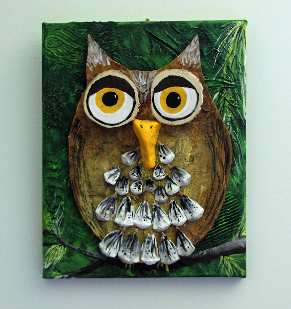 Mixed Media Owl Painting