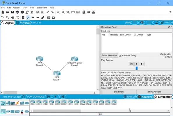 Tampilan Cisco packet tracer terbaru