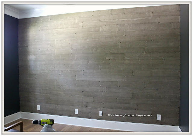Home Office Makeover-DIY-Gray-Barn Wood-Feature Wall-From My Front Porch To Yours