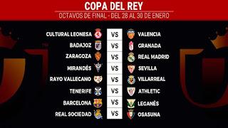 Copa del Rey last 16 draw: Real Madrid visit Zaragoza, Barcelona host