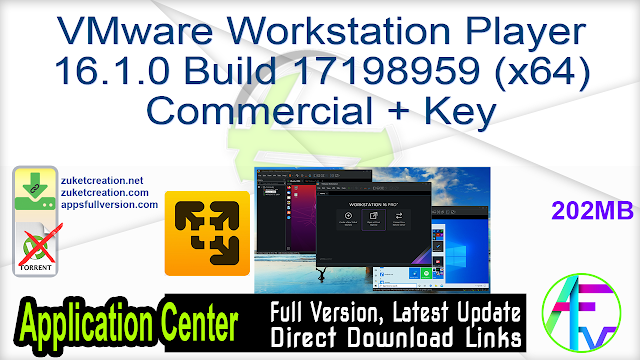 VMware Workstation Player 16.1.0 Build 17198959 (x64) Commercial + Key