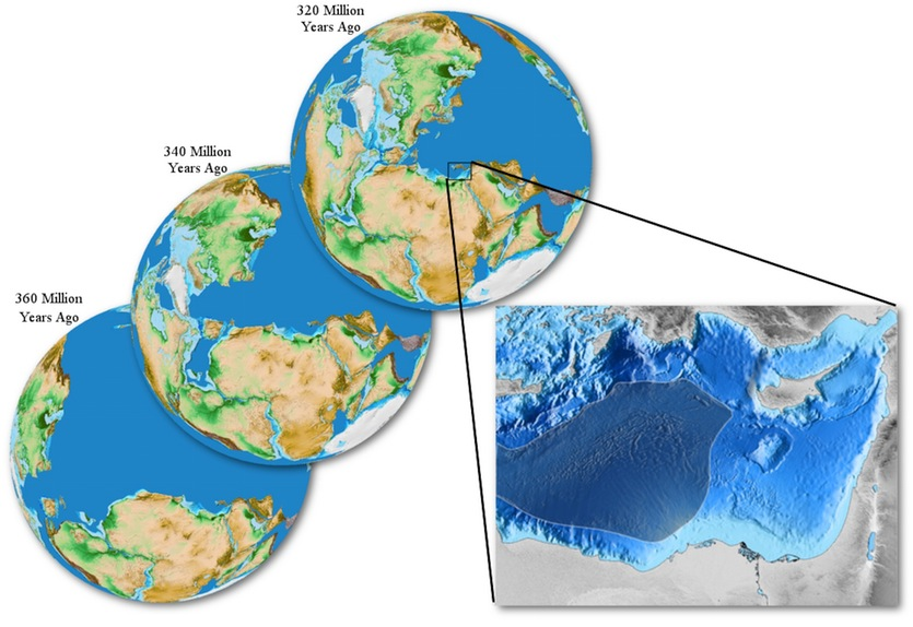 340 million year old oceanic crust uncovered in the mediterranean plate reconstruction maps at 360 340 and 320 million years ago bottom left to upper right around the time a new ocean formed in what is now the eastern publicscrutiny Images