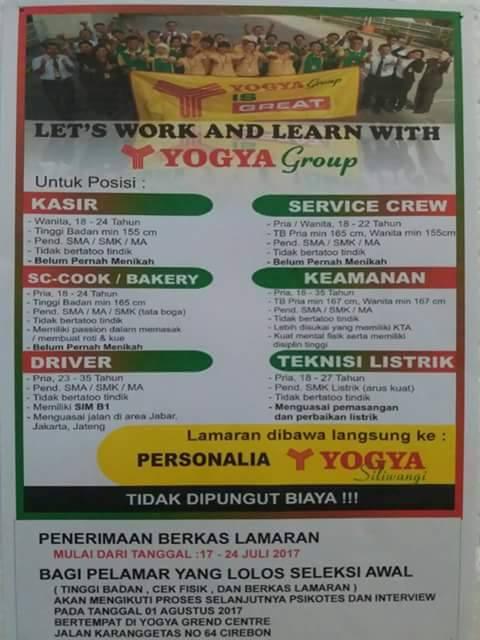 Lowongan kerja Yogya Grand Center Cirebon