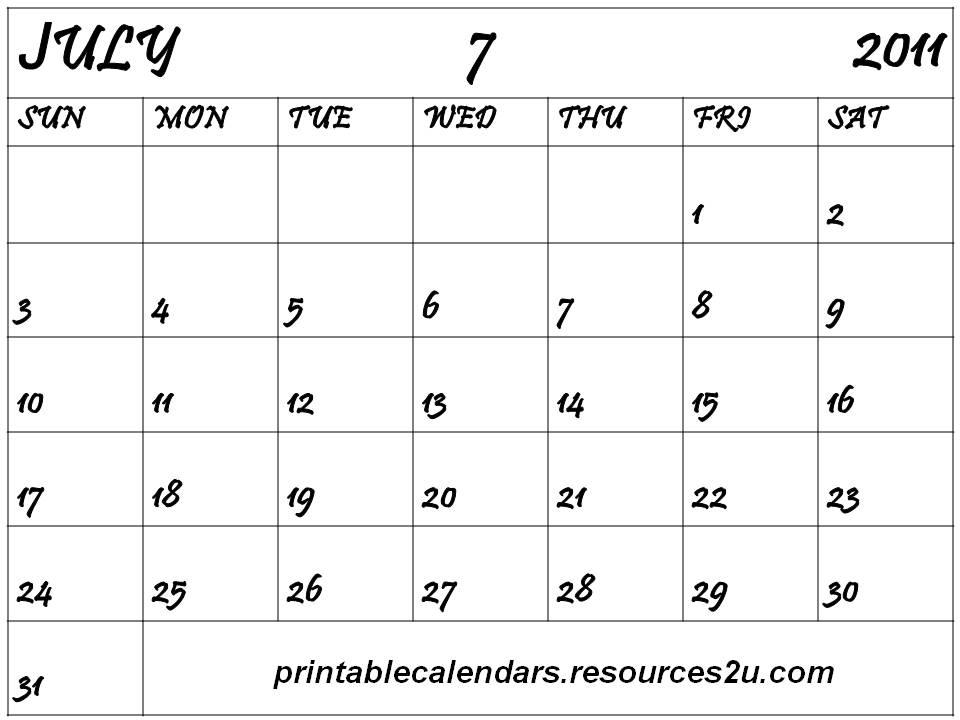 june july calendar 2011 - photo #3