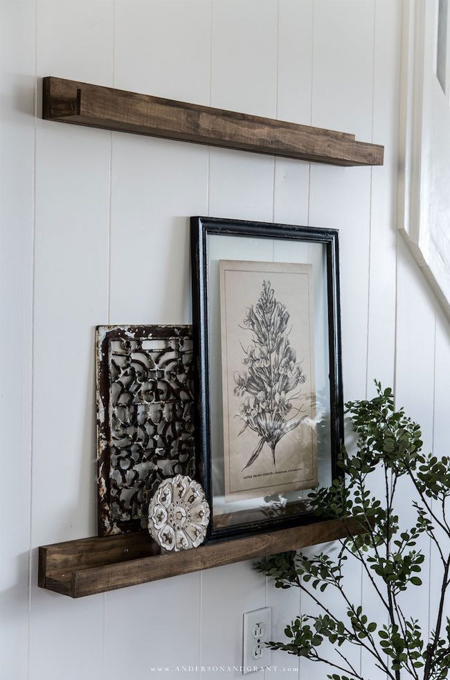 DIY Picture Ledge Shelves for Any Skill Level by Anderson and Grant featured at Pieced Pastimes