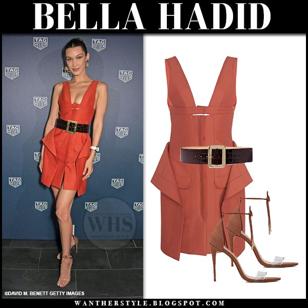 5c3994b7d4c Bella Hadid in coral Jacquemus mini dress with belt and Aldo Vaycia sandals.  Celebrity party