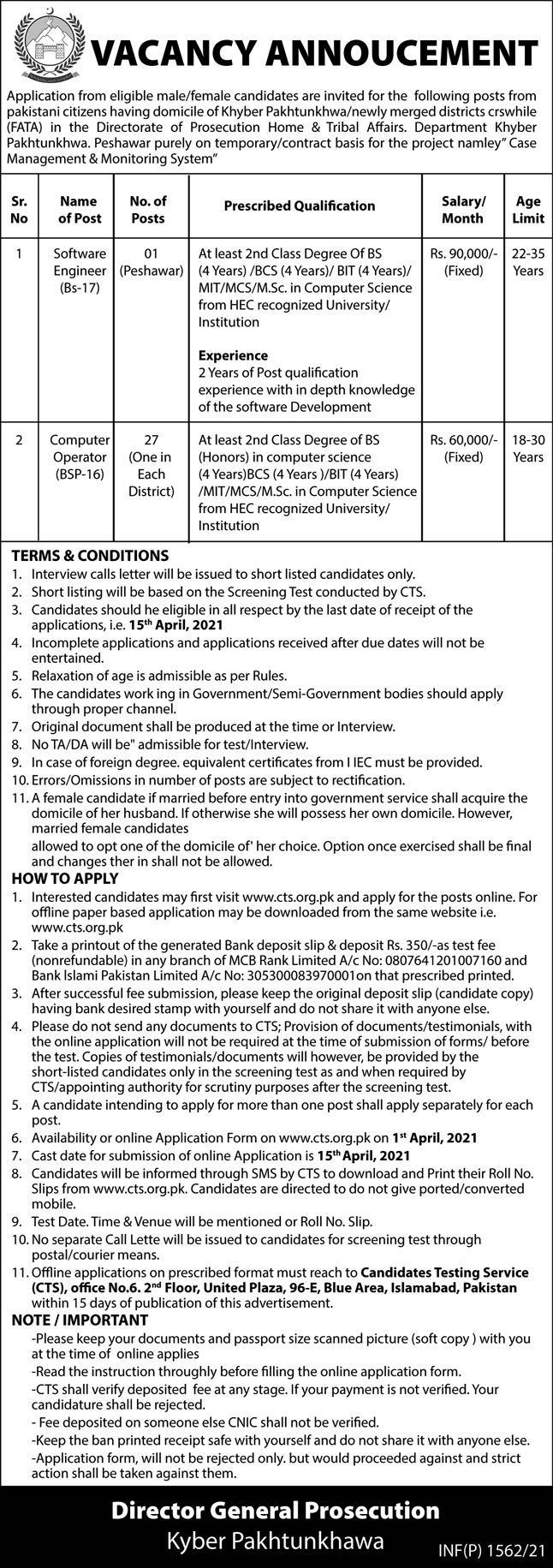 Home & Tribal Affairs Department Jobs 2021 in Peshawar KPK via CTS