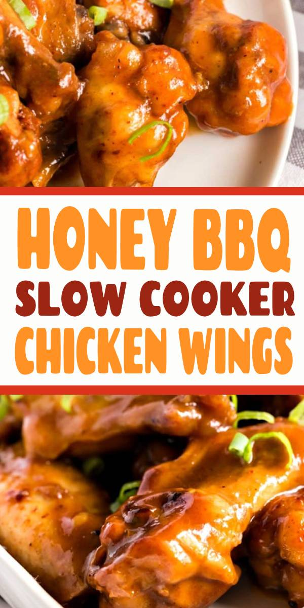 These Slow Cooker Chicken Wings are cooked in a tasty Honey BBQ sauce until fall off the bone tender. Quickly broiled until golden then served smothered in more sauce! These crock pot chicken wings are always a crowd pleaser! #Slowcooker #bbq #chicken #chickenbbq #crockpot