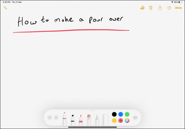 ملاحظة مكتوبة بخط اليد في تطبيق Notes على iPad