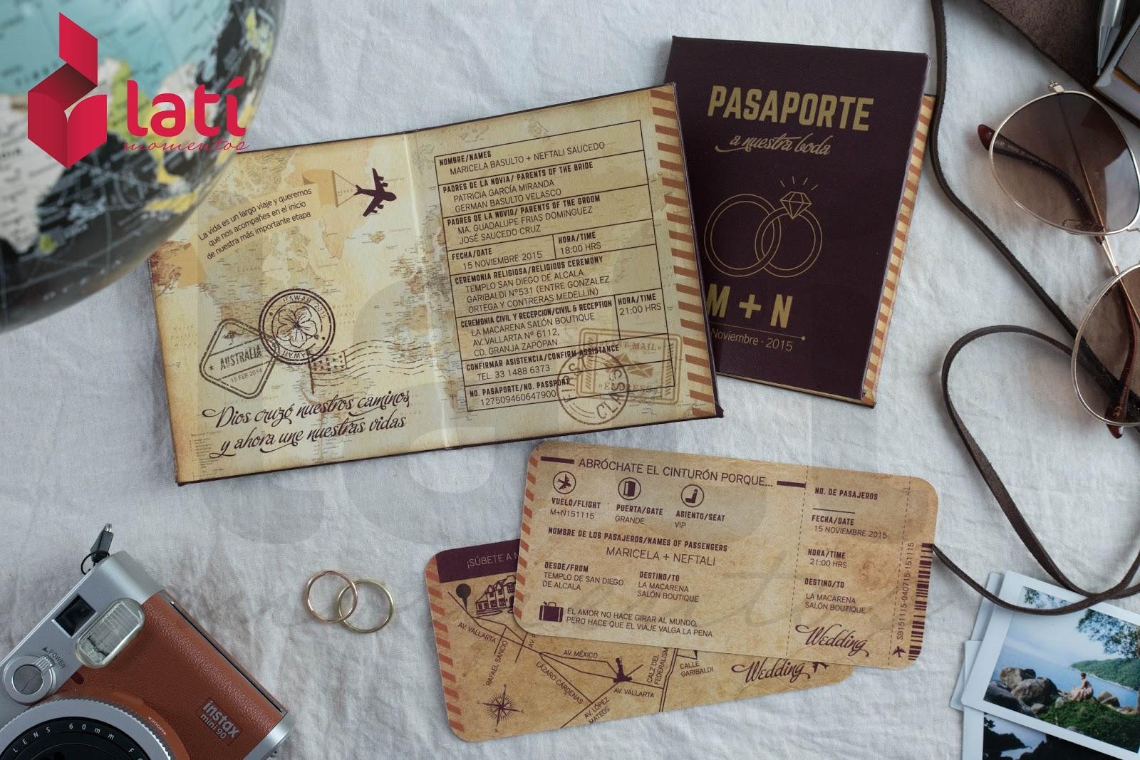 Latí Momentos Invitación Tipo Pasaporte