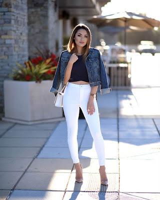 outfit casual de verano jeans tiro alto blanco