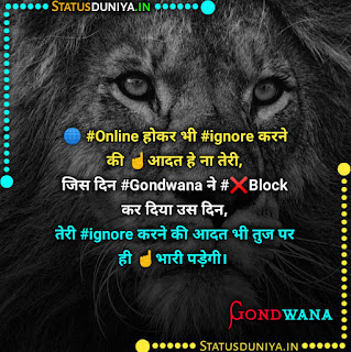 Gondwana Attitude Status Shayari In Hindi 2021, 🌐 #Online होकर भी #ignore करने की ☝️आदत हे ना तेरी, जिस दिन #Gondwana ने #❌Block कर दिया उस दिन,  तेरी #ignore करने की आदत भी तुज पर ही ☝️भारी पड़ेगी।