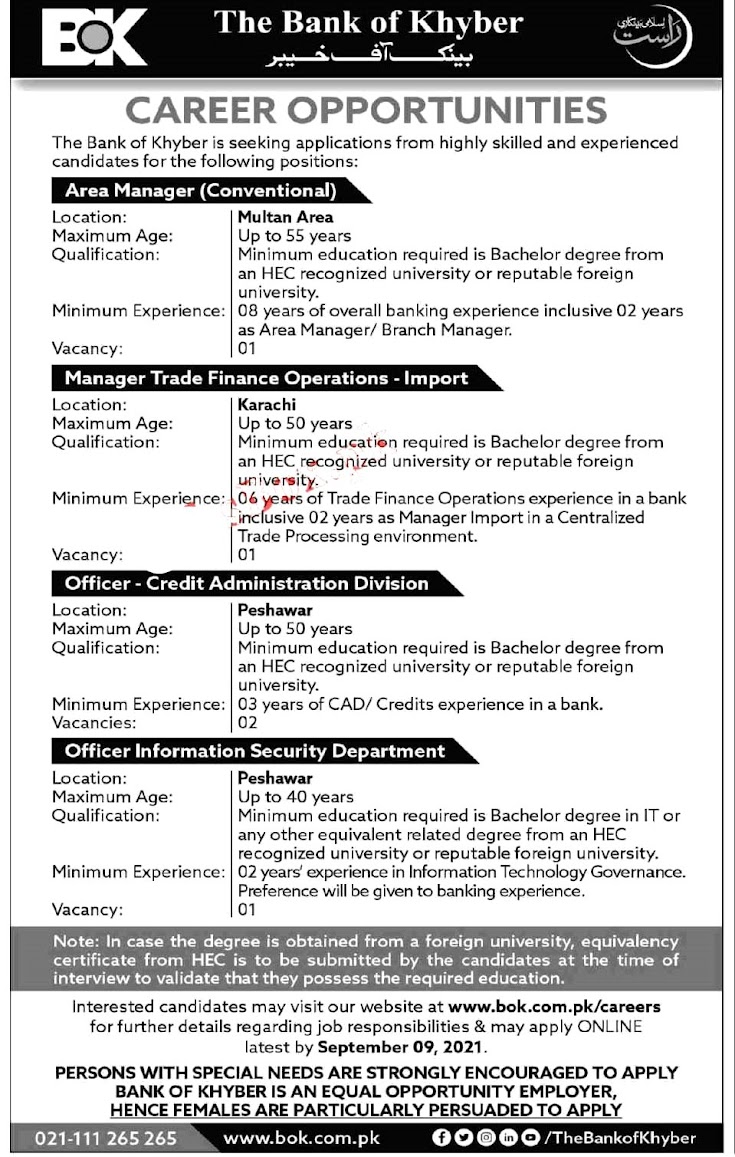 Bank of Khyber BOK  Latest Jobs August 2021 –  Online Apply  via www.bok.com.pk