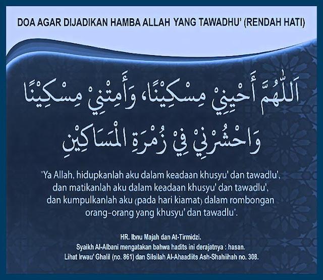 Doa agar menjadi orang yang tawadhu', rendah hati, humble