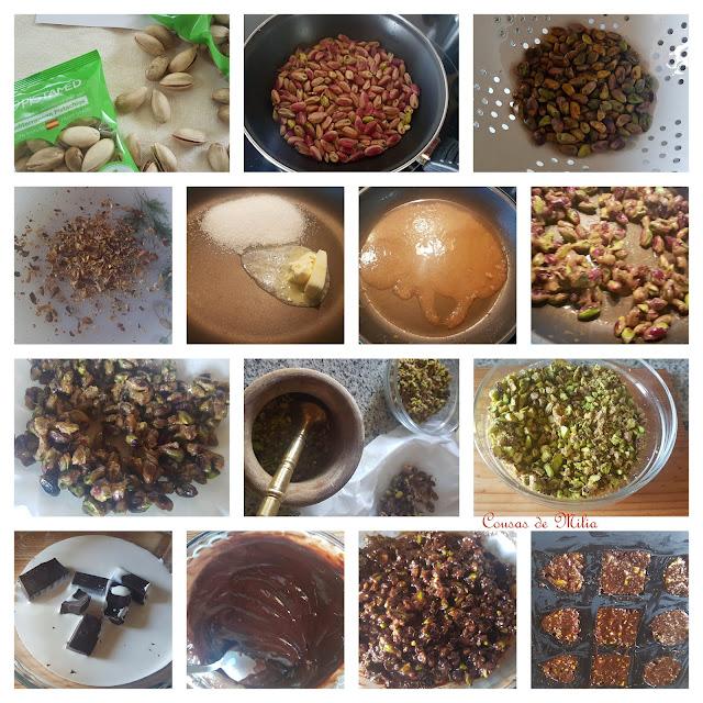 Bombones crocantes de pistachos