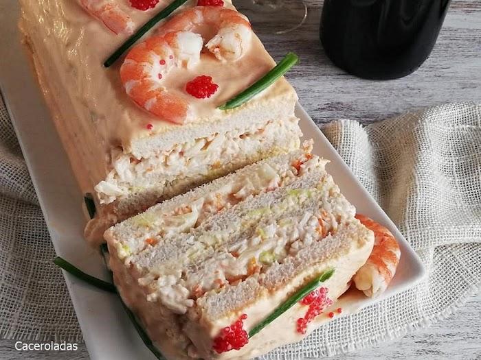 Pastel fácil de marisco con pan de molde
