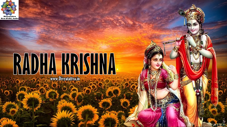 hindu india gods radha krishna Sunset red sky cloud field with sunflower HD Desktop Wallpaper for mobile www.divyatattva.in