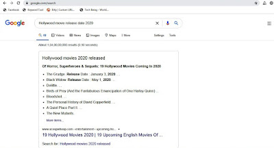 bing search for hollywood movie release 2020