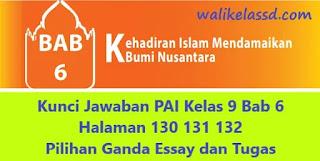 Kunci Jawaban PAI Kelas 9 Bab 6 Halaman 130 131 132 Pilihan Ganda Essay dan Tugas