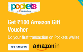 Pockets app - Do First Transaction and Get 100 Amazon Gift Voucher