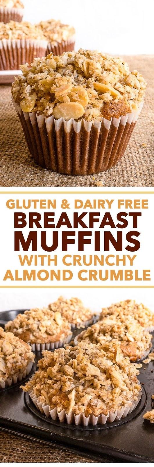 Gluten & Dairy Free Breakfast Muffins With Crunchy Almond Crumble