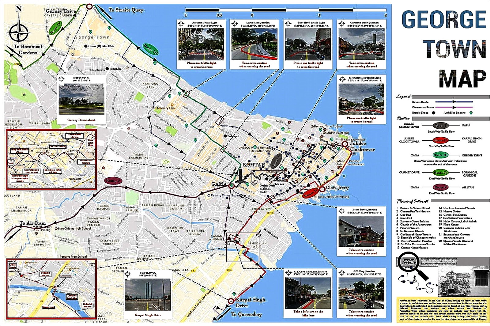 above is a cycling map of george town graciously prepared by our buddy chin huat click on it for an enlarged view it also shows some of the radial lanes