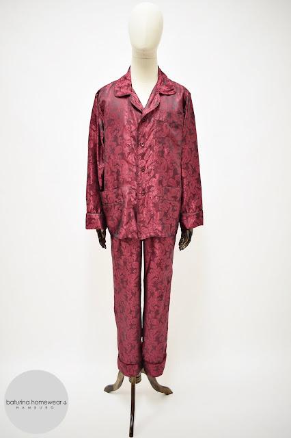 herren pyjama schlafanzug seide weinrot paisley pyjamahose
