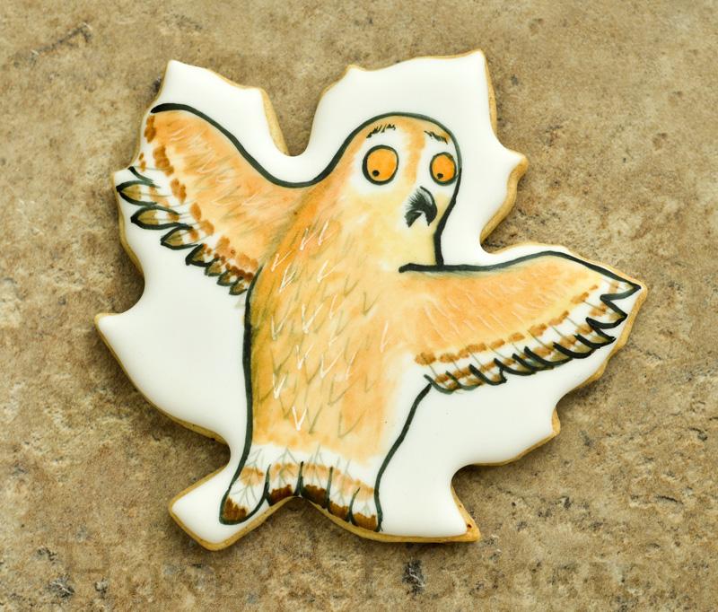 Handpainted Gruffalo Owl decorated cookie.
