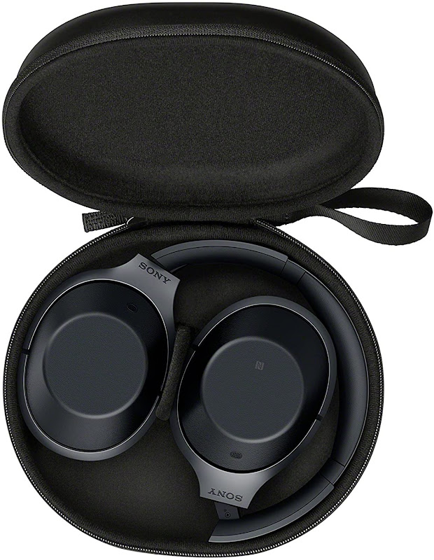 Sony MDR 1000X headphones in its bag