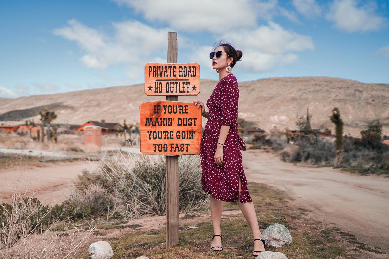 woman in midi dress