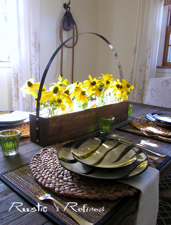 Breakfast Table setting with fresh sunny flowers