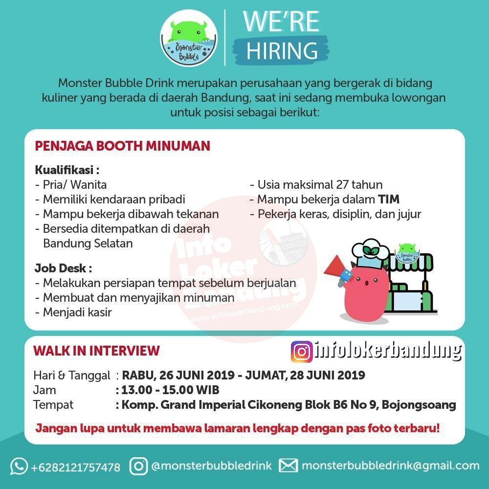 Lowongan Kerja Penjaga Booth Minuman Monster Bubble Drink Bandung Juni 2019