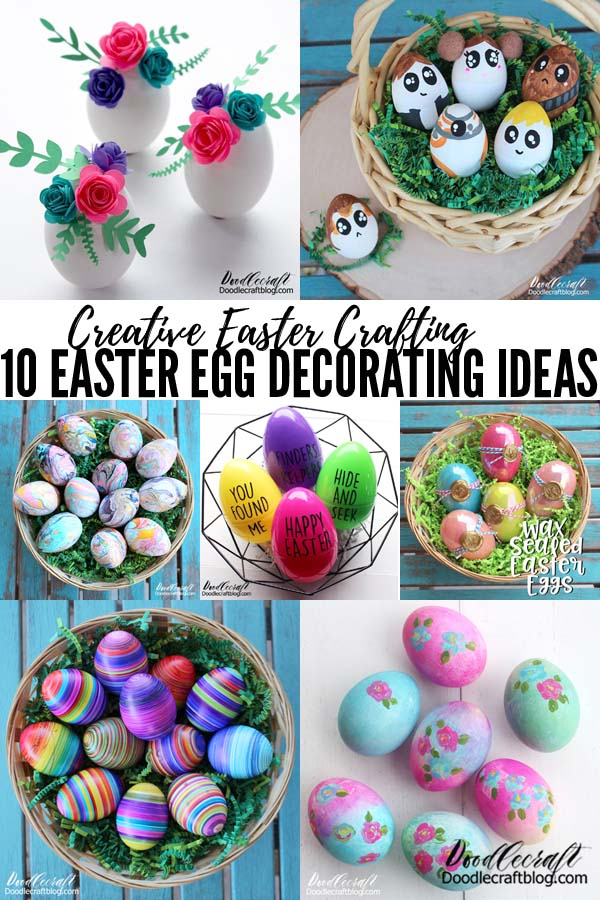10 creative Easter Egg decorating ideas! Great for kids crafting, girls nights, paint nights, family get togethers or just for Spring time decorations.