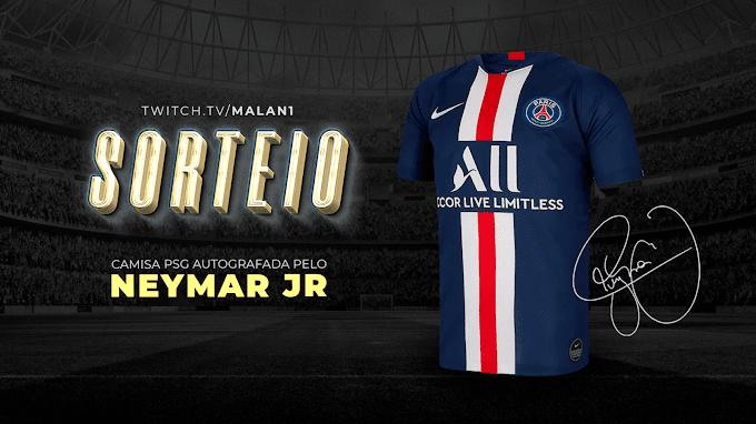 Sorteio de uma camiseta do PSG autografada pelo Neymar JR.