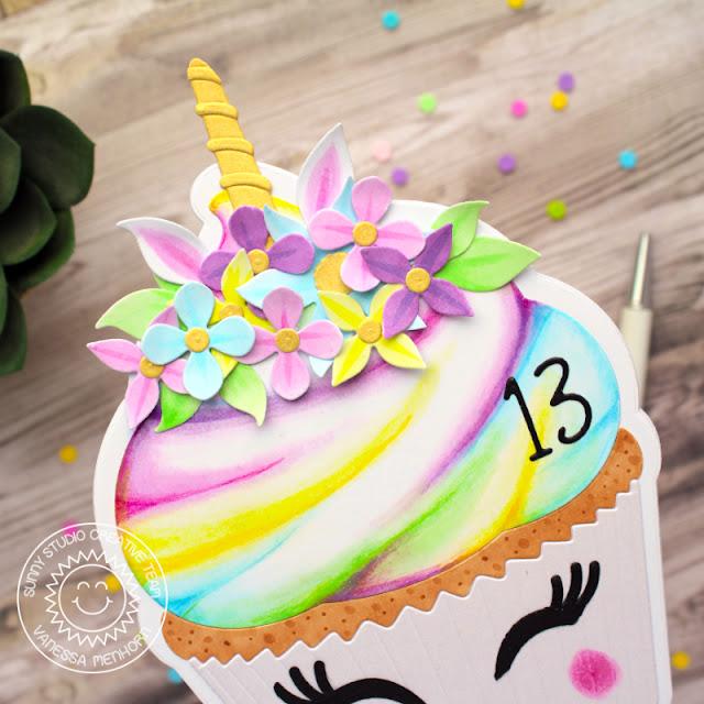 Sunny Studio Stamps: Cupcake Shape Die Loopy Letter Dies Botanical Backdrop Dies Birthday Card by Vanessa Menhorn