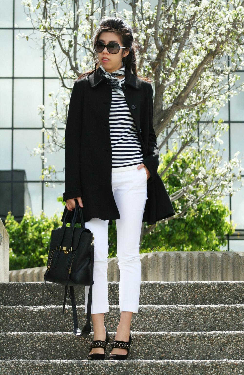 What I Wore Today - Coat Over Shoulders - Cigarette Pants with Blue and White Striped Top _ Adrienne Nguyen - Invictus